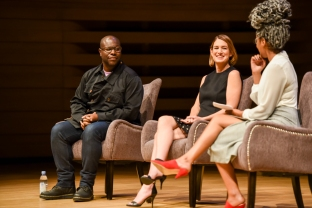 The 2018 Women in the World Canada Summit. Steve McQueen, Gillian Flynn and Amanda Parris. Photo by Katie Booth.