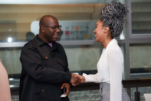 The 2018 Women in the World Canada Summit. Steve McQueen and Amanda Parris. Photo by Katie Booth.