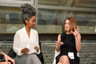 The 2018 Women in the World Canada Summit. Gillian Flynn and Amanda Parris. Photo by Katie Booth.